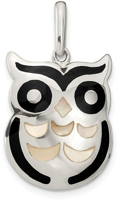 Curata 17mm 925 Sterling Silver Simulated Mother of Pearl and Simulated Onyx Owl Pendant Necklace Jewelry Gifts for Women