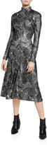 Paco Rabanne Metallic Leaf-Print Mock-Neck Dress