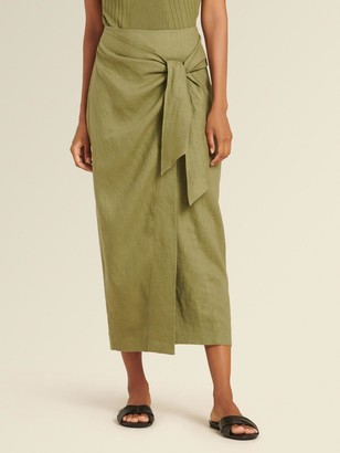 DKNY Donna Karan Women's Tie Front Skirt - Olive - Size 0