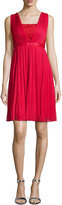 Monique Lhuillier Sleeveless Plisse Lace-Inset Dress, Poppy