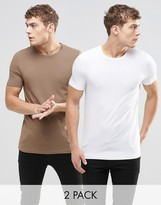 Asos 2 Pack Muscle T-shirt With Crew Neck In White/brown