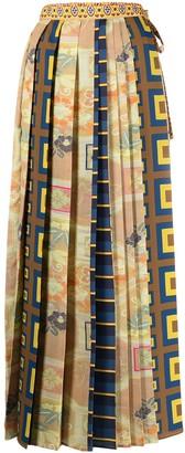Pierre Louis Mascia Long All-Over Print Skirt