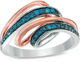 Zales 1/5 CT. T.W. Enhanced Blue Diamond Loop Ring in Sterling Silver and 10K Rose Gold