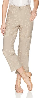 T Tahari Women's Naima Floral Embroidered Crop Pant