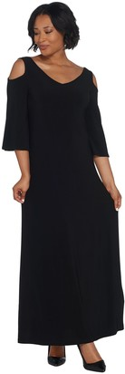 Women With Control Attitudes by Renee Petite Como Jersey Flutter Sleeve Maxi Dress