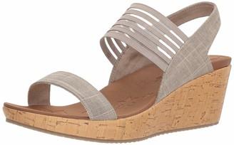 Skechers Beverlee Smitten Kitten Womens Wedge Sandals Taupe 8.5