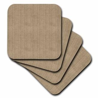 BEIGE 3drose 3dRose Burlap Fabric Effect - Soft Coasters, set of 4
