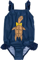 Mini Rodini turtle print frilled swimsuit