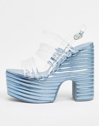 Jeffrey Campbell Grooveline platform sandal in silver