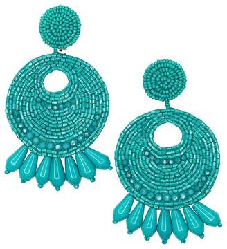 Kenneth Jay Lane Turquoise Seed Bead Round Gypsy Hoop With Drops Pierced Or Clip Earrings