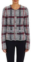 Thom Browne WOMEN'S PLAID WOOL-BLEND CARDIGAN-LIGHT GREY SIZE 42IT