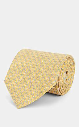 Salvatore Ferragamo Men's Tennis-Racket-Print Silk Twill Necktie - Yellow
