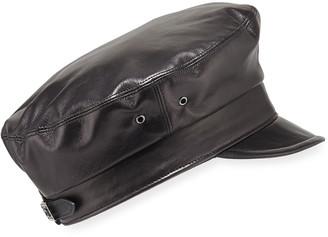 Eric Javits Night Porter Leather Newsboy Cap