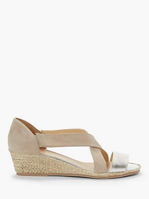 da21c02dad John Lewis & Partners Kiara Wedge Heel Open Toe Sandals, Silver/Neutral  Suede