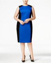 Calvin Klein Plus Size Faux-Suede-Trim Scuba Sheath Dress