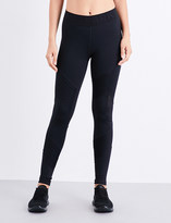 Ivy Park Ladies Black Breathable Pintuck Stretch-Jersey Leggings