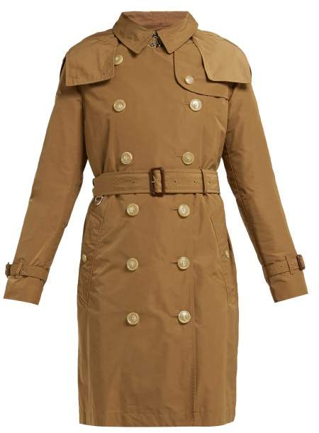Burberry Kensington Hooded Taffeta Trench Coat - Womens - Camel