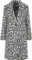 Maje Leopard-print Brushed-felt Coat