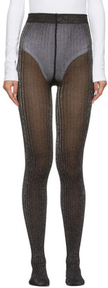 Marc Jacobs Black and Silver Ribbed Tights