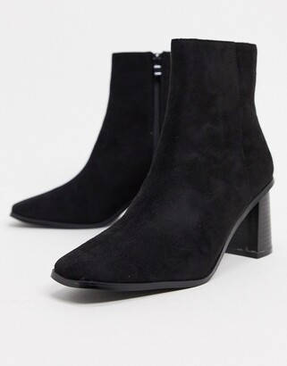 Raid Paulina square toe ankle boots in black