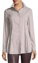 Lafayette 148 New York Jake Supreme Striped Button-Front Blouse