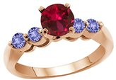 Gem Stone King 1.32 Ct Round Red Created Ruby Blue Tanzanite 18K Rose Gold Engagement Ring