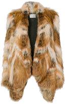 Yves Salomon fox and marmot fur coat