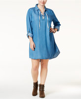 Style&Co. Style & Co Plus Size Lace-Up Denim Dress, Only at Macy's