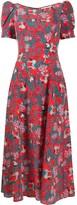 Saloni silk jungle print dress