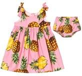Dolce & Gabbana Pink Pineapple Print Cotton Sleeveless Dress with Briefs
