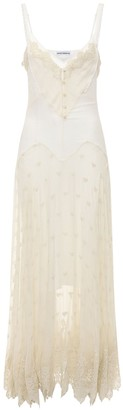 Paco Rabanne Silk Chiffon Sheer Long Dress W/ Lace