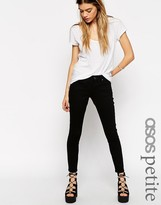 Asos Whitby Low Rise Skinny Ankle Grazer Jeans In Clean Black