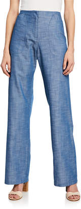 Zero Maria Cornejo Eda Straight-Leg Chambray Pants