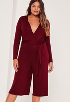 Missguided Plus Size Burgundy Jersey Wrap Plunge Romper