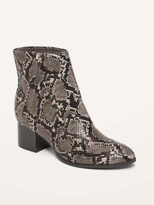 Old Navy Faux-Snakeskin Side-Zip Block-Heel Booties for Women