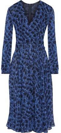 Derek Lam Pleated Snake-Print Silk-Gauze Dress