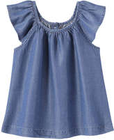 Joe Fresh Toddler Girls' Flutter Tank, Medium Wash (Size 3)
