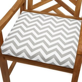 "Indoor/Outdoor Dining Chair Cushion Ebern Designs Fabric: Grey Chevron, Size: 19"" x 19"""
