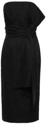 Rebecca Vallance Strapless Belted Crinkled-satin Midi Dress
