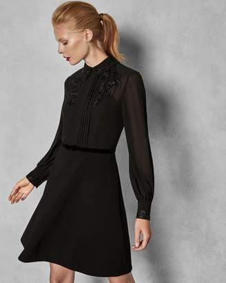 Ted Baker Embellished Dress With Collar