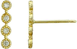 FINE JEWELRY Petite Lux Cubic Zirconia 10K Yellow Gold Vertical Bezel-Set Drop Earrings