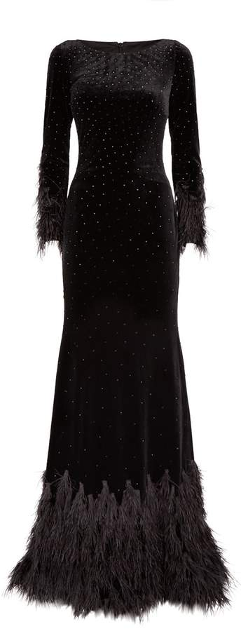 Jovani Embellished Feather Gown