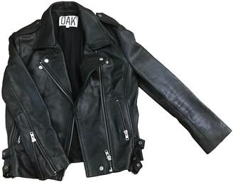 OAK Black Leather Leather Jacket for Women