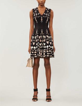 Graphic-print stretch-knit mini dress