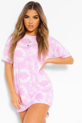 boohoo Petite Tie Dye T-Shirt Dress
