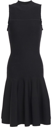 Carven Flared Ruffle-trimmed Stretch-knit Dress