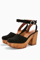 Topshop Womens Gabby Black Closed Leather Platform Clogs - Black