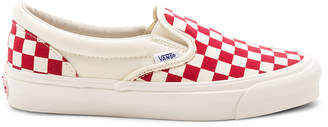 Vans OG Classic Canvas Slip-Ons LX in White & Red | FWRD