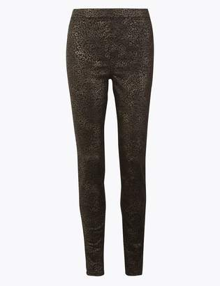 M&S CollectionMarks and Spencer Coated Leopard Print High Waist Jeggings