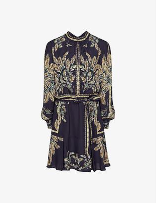 Reiss Maria feather-print mini dress